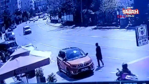 İstanbul Etiler'de tek teker sürdüğü motosikletle kaza yapan sürücü kamerada