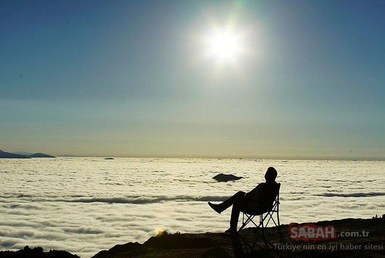 Bu kareler Türkiye'den! 'Bulut denizi' için nöbet tutuyorlar