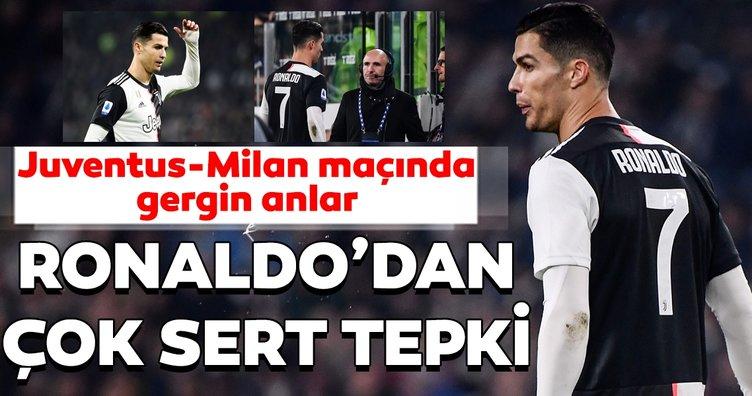 Juventus - Milan maçında gerilim! Cristiano Ronaldo'dan çok sert tepki