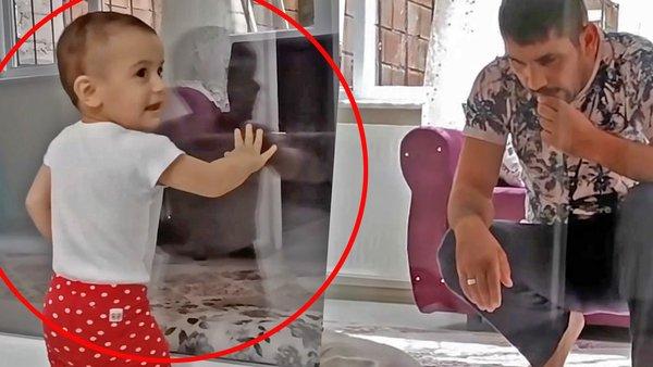 Ordu'da korona virüslü baba, 2 yaşındaki kızını yürekleri yakan buluşma anı kamerada | Video