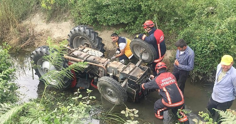 Son dakika: Düzce'de sulama kanalına düşen traktörün sürücüsü öldü