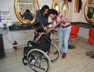 Gaziantep'te bedensel engelli Beyza, saçlarını lösemili çocuklar için bağışladı