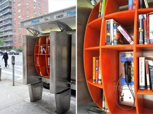 Telefon kulübesinden kütüphane yaptılar!