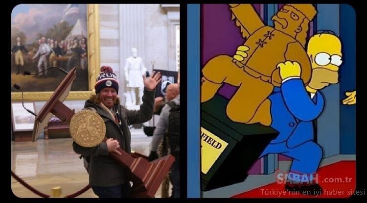 Son dakika haberi: Sosyal medya Simpsonlar'ı konuşuyor! ABD kongresindeki miğferli göstericiyi de bildiler…