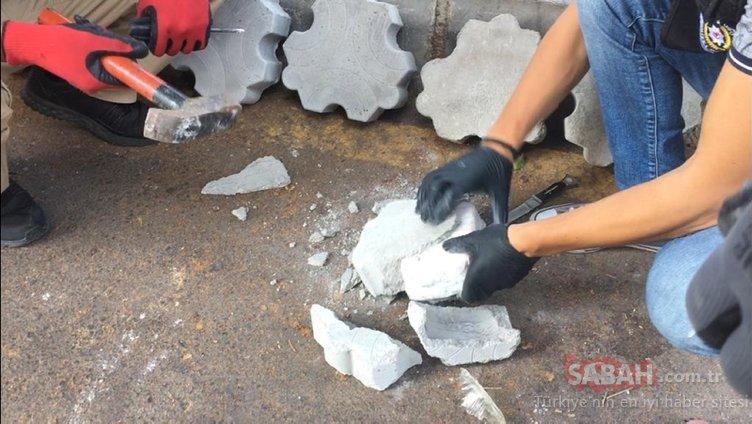 Kargoyla gönderilen parke taşlarının içinden eroin çıktı