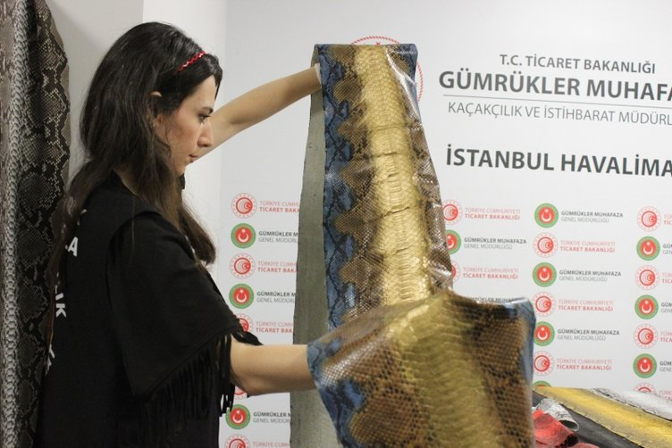 istanbul havalimaninda ele gecirilen yilan derilerinin degeri 320 bin tl 1568200957058