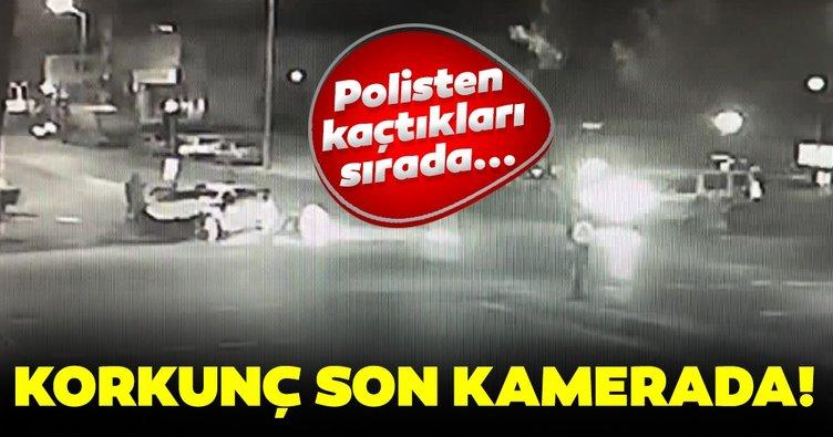 Polisten kaçan araç taksi ile çarpıştı! O anların görüntüsü ortaya çıktı...