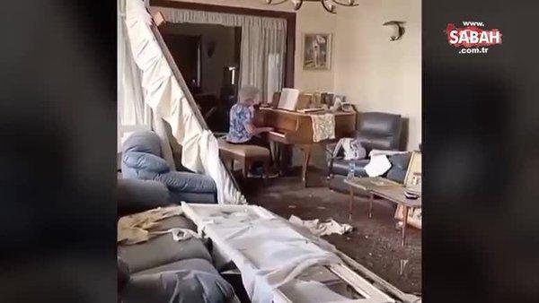 Beyrut'ta bir kadın, dün meydana gelen patlamada hasar gören evinde piyano çaldı   Video
