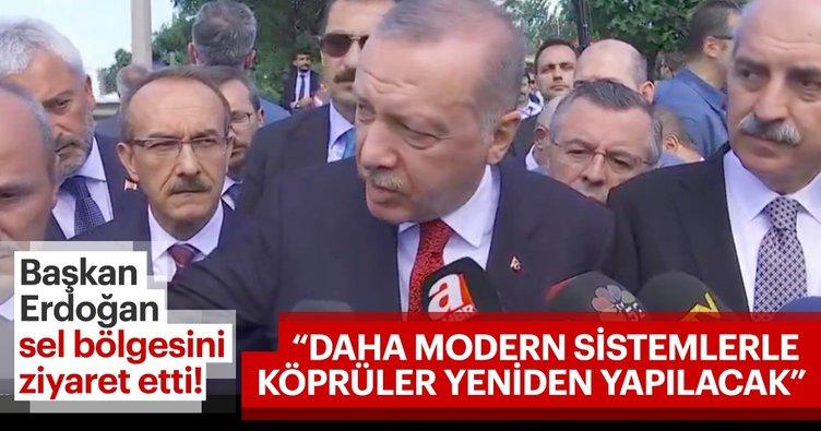 Başkan Erdoğan sel bölgesinde açıklamalarda bulundu