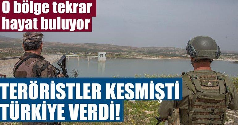 Afrin'de teröristlerin kestiği suyu Türkiye verdi