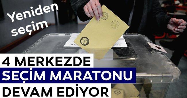 3 ilçe ve bir beldede oy verme işlemi sürüyor