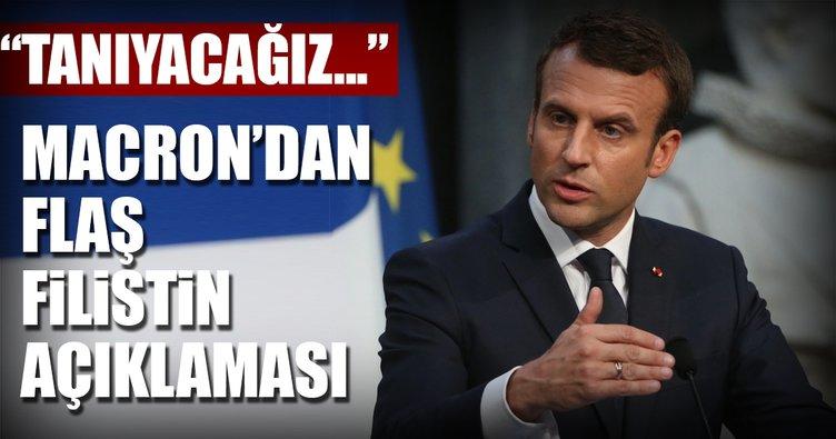 Macron'dan flaş sözler: Filistin'i hiçbir baskı altında kalmadan tanıyacağız