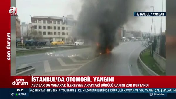 SON DAKİKA: İstanbul Avcılar'da yanarak kayan araç korku saçtı | Video