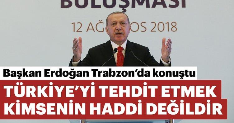 Başkan Erdoğan: Türkiye'yi tehdit etmek kimsenin haddi değildir