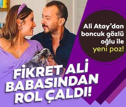 Adeta küçük Ali Atay! Hazal Kaya ile Ali Atay'ın boncuk gözlü oğulları Fikret Ali babası ile poz verdi Maşallah yorumları yağdı!