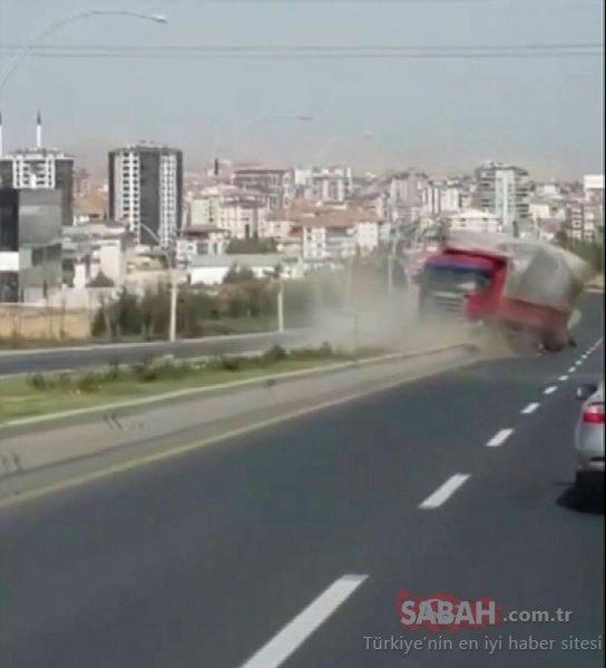 Freni boşalan kamyon, akan trafikte 2 kilometre geri geri gitti