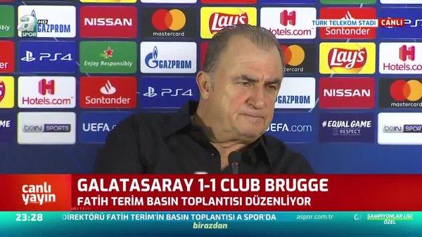Galatasaray Teknik Direktörü Fatih Terim Club Brugge karşılaşması sonrası gazetecilerin sorularını cevapları