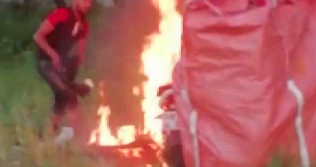 Sivas'ta akılalmaz olay! Arkadaşının motorunu yaktı...