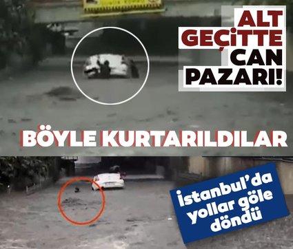 Son dakika: İstanbul'da yollar göle döndü! Alt geçitte can pazarı...