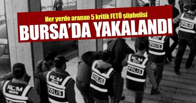 Her yerde aranan 5 FETÖ şüphelisi Bursa İznik'te yakalandı