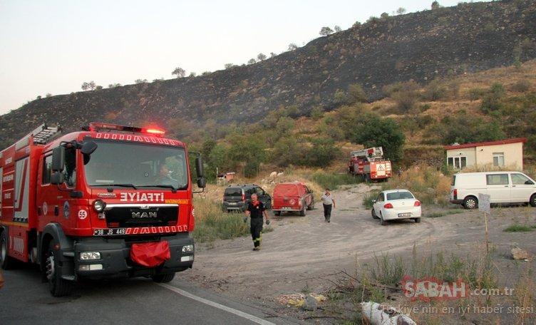 Kayseri'de akreplerin islahı için yakılan anızaz daha ormanı yakıyordu