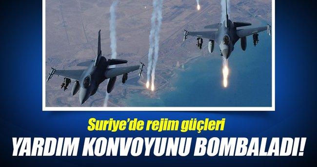 Suriye rejimi, insani yardım kafilesini bombaladı!