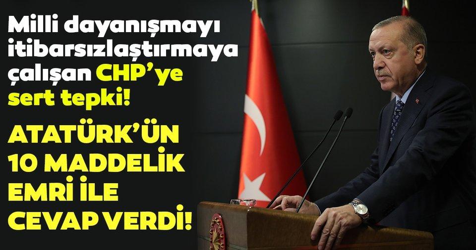 Başkan Recep Tayyip Erdoğan'dan CHP'ye Atatürk'ün 'Tekalif-i Milliye' emirleri ile cevap