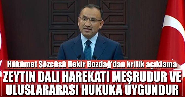 Hükümet Sözcüsü Bozdağ: Zeytin Dalı harekatı meşrudur ve uluslararası hukuka uygundur