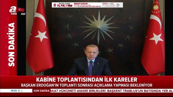 Son dakika: Cumhurbaşkanı Erdoğan başkanlığındaki Cumhurbaşkanlığı Kabine Toplantısı'ndan ilk görüntüler | Video