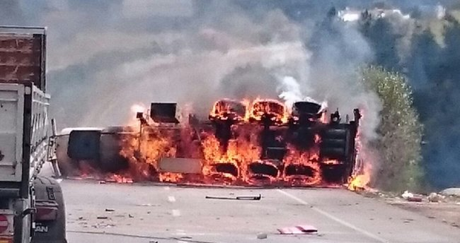 Alkol yüklü tanker alev alev yandı