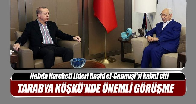 Cumhurbaşkanı Erdoğan Raşid el-Gannuşi'yi kabul etti
