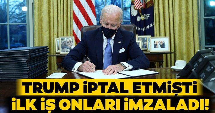 Son dakika: Joe Biden Beyaz Saray'a geldi! İlk imzayı attı