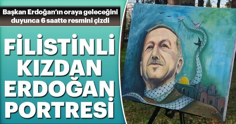 Filistinli kızdan Erdoğan portresi