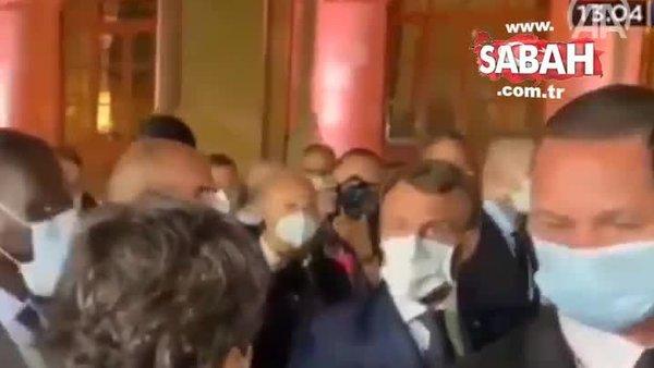 Macron, Hizbullah lideriyle yaptığı görüşmeyi haberleştiren gazeteciyi azarladı | Video