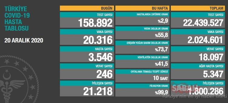 SON DAKİKA - 20 Aralık koronavirüs tablosu ile Türkiye corona virüsü vaka sayısı! Sağlık Bakanlığı korona son durum verileri…