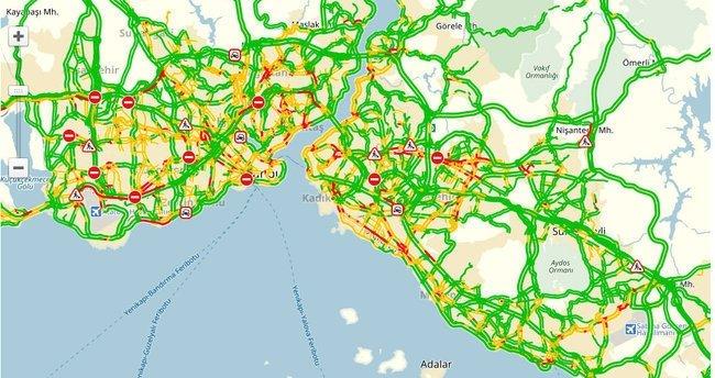 İstanbul (İBB) trafik - yol durumu haritası