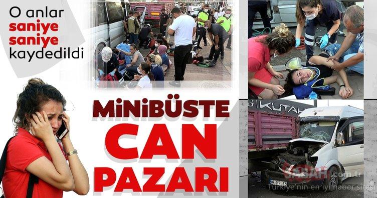 Fide işçilerinin taşındığı minibüs TIR'a çarptı