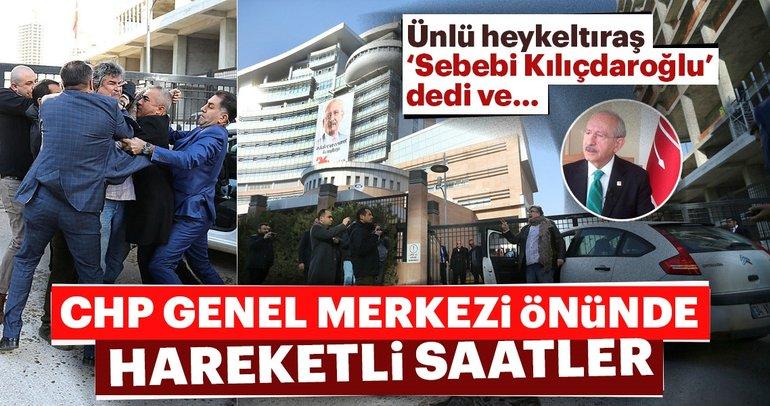 Heykeltıraş Ragıp Çiçen CHP Genel Merkezi önünde kendisini yakmaya çalıştı