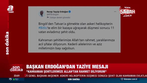 Son dakika haberleri: Başkan Erdoğan'dan Bitlis şehitleri için taziye mesajı | Video