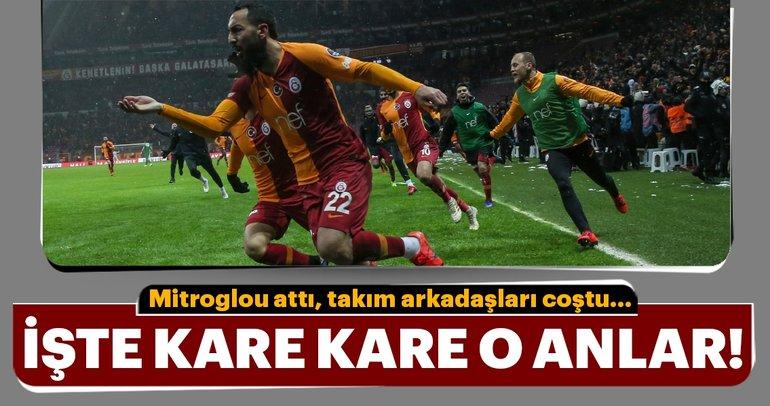Kostas Mitroglou attı, Galatasaraylı oyuncular coştu! İşte kare kare o anlar