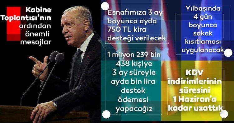 Son dakika haberi: Esnafa kira yardımı, yılbaşında sokağa çıkma yasağı... Başkan Erdoğan Kabine Toplantısı'nda alınan kararları açıkladı