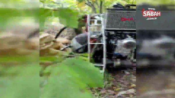 Hatay'da etkisiz hale getirilen teröristlerin kullandığı paramotorun bulunma anı görüntüleri ortaya çıktı   Video