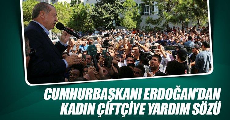 Cumhurbaşkanı Erdoğan'dan kadın çiftçiye yardım sözü