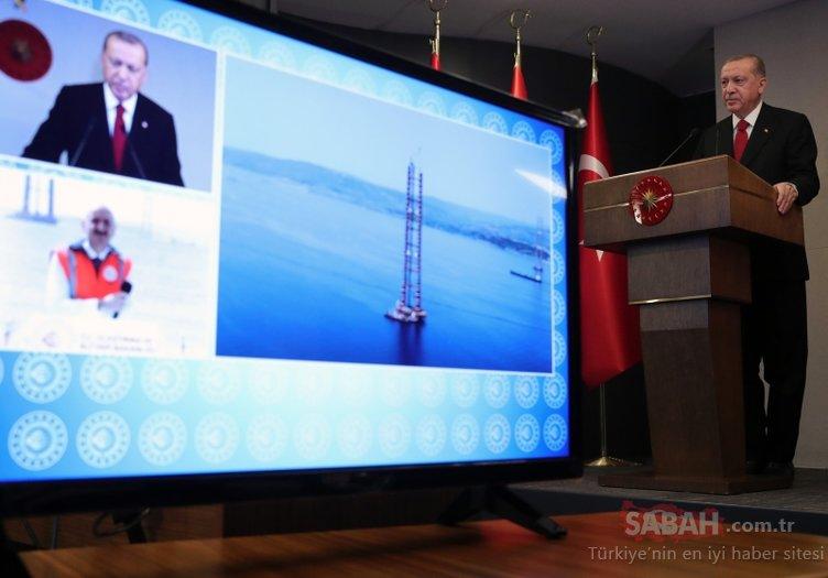 bBaşkan Erdoğan 1915 Çanakkale Köprüsü'nün temel atma törenine video konferans ile katıldı