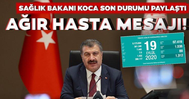 Son dakika haberi: Bakan Fahrettin Koca 19 Eylül koronavirüs vaka ve vefat sayılarını açıkladı! İşte, Türkiye'de corona virüs son durum tablosu