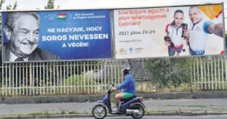 Macaristan'da Soros afişli kampanya