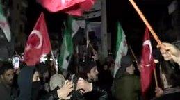 Son dakika! İdlib'liler ellerinde Türk bayraklarıyla sokağa döküldü | Video