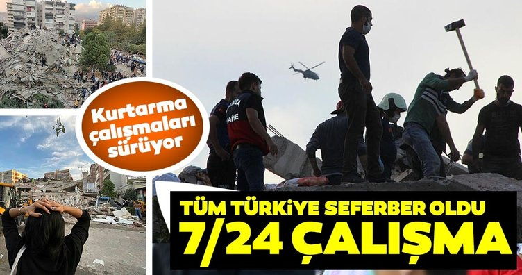 İzmir depreminde kurtarma çalışmaları sürüyor