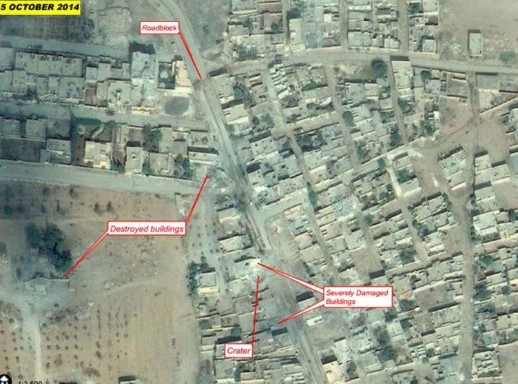 Kobani uydudan görüntülendi