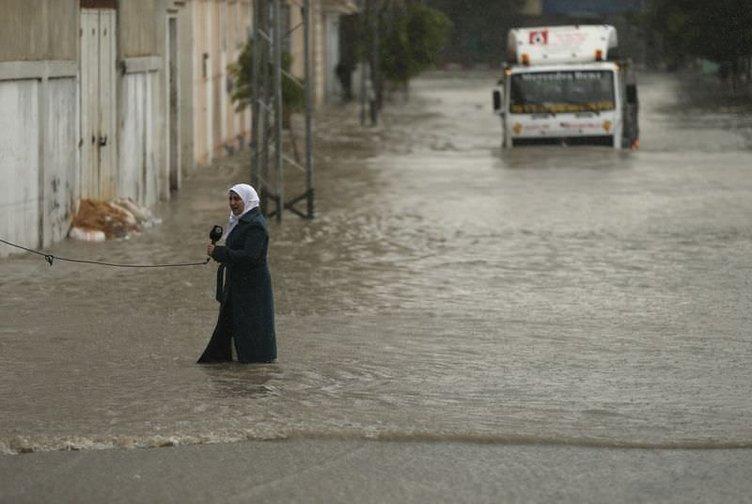 Gazze' ye bu sefer sel vurdu